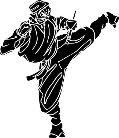 japanese ninja: Ninja fighter - vector illustration  Vinyl-ready