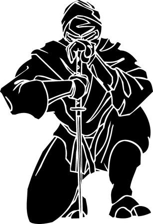 katana: Ninja fighter - vector illustratie Vinyl-ready