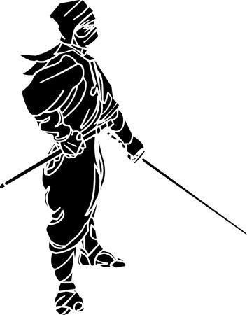 shuriken: Ninja Fighter - ilustraci�n vectorial de vinilo preparados Vectores
