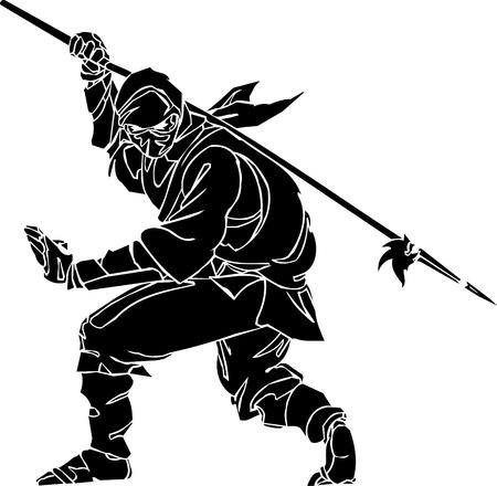 katana: Ninja vechter - vector illustratie Vinyl-ready