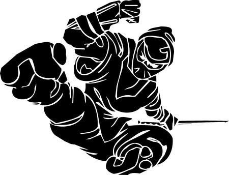 kanji: Ninja fighter - vector illustration  Vinyl-ready