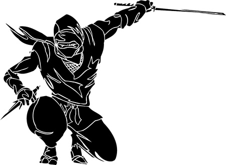 ninjutsu: Ninja fighter - vector illustration  Vinyl-ready
