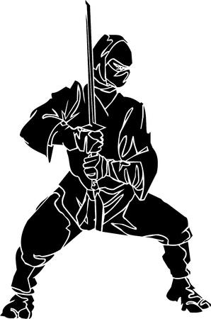 Ninja fighter - vector illustration  Vinyl-ready 版權商用圖片 - 13932300