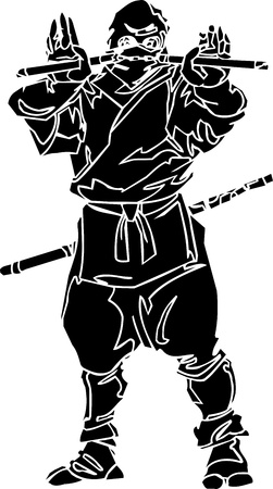 aikido: Ninja fighter - vector illustration  Vinyl-ready