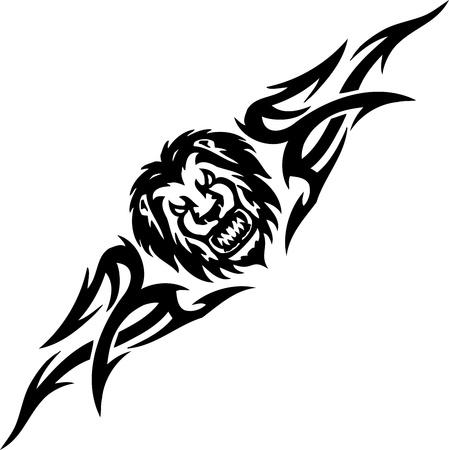 incendio bosco: Lion e simmetrica tribali Vettoriali