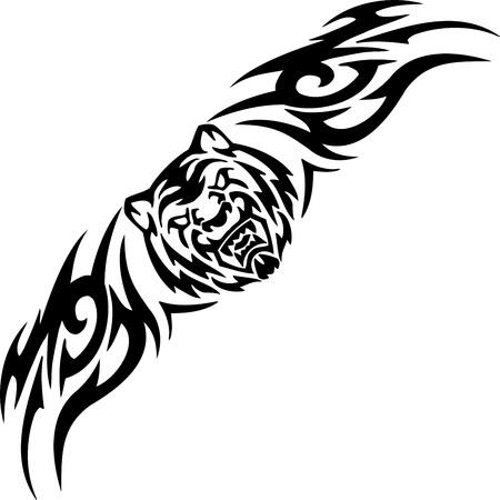 incendio bosco: Tiger e simmetrico tribali Vettoriali