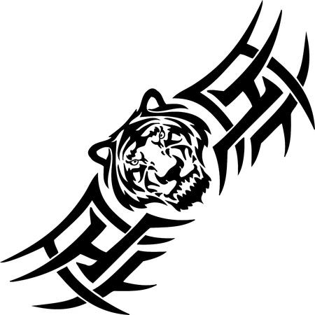 Tiger und symmetrische Tribals Standard-Bild - 14096836