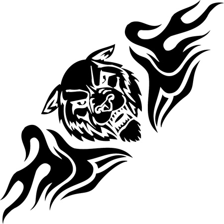 Wolf and symmetric tribals Vector