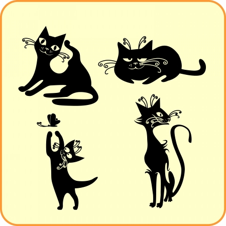 Black cats -  set  Vinyl-ready  Stock Vector - 16666042