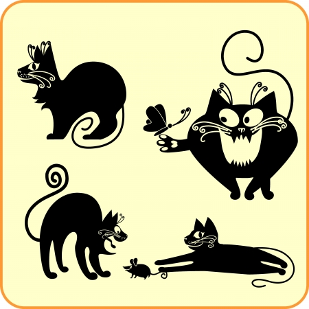 Black cats - set  Vinyl-ready   Vector