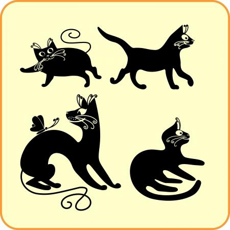 Black cats -  set  Vinyl-ready Vector