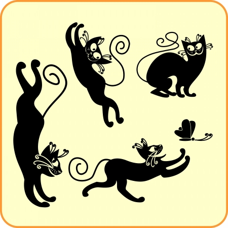 Black cats -  set  Vinyl-ready  Stock Vector - 16666041