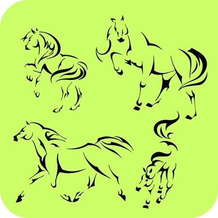 Cavalli di luce - impostare Vinyl-ready Vettoriali
