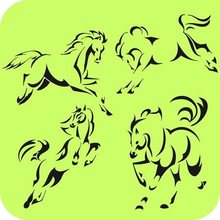 Light Horses -  set  Vinyl-ready  Vector