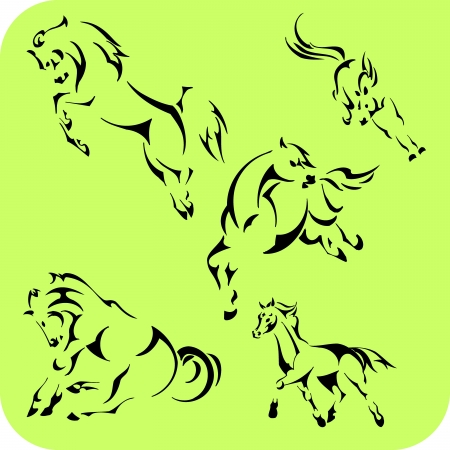Light Horses - set  Vinyl-ready  Stock Vector - 16666112