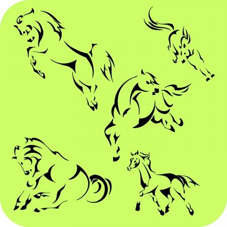 Light Horses - set  Vinyl-ready Stock Vector - 16666112