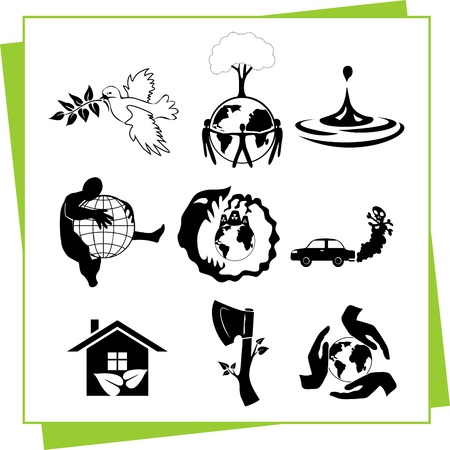 radiation pollution: Eco Design Elements and Icons