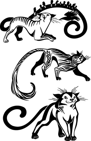 graceful: Stylized Cats - elegance and graceful cats  Illustration