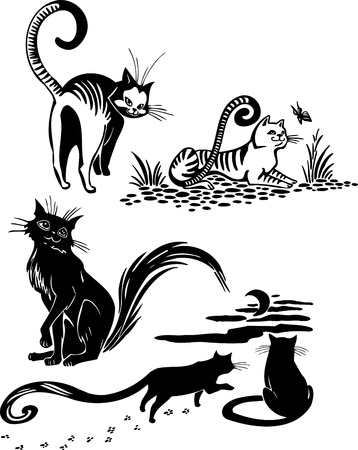 cats playing: Stylized Cats - elegance and graceful cats  Illustration