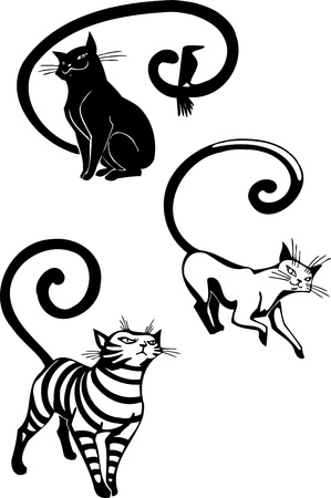 Stylized Cats - elegance and graceful cats Stock Vector - 17240944