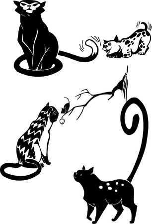 Stylized Cats - elegance and graceful cats Stock Vector - 17240945
