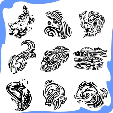 underwater fishes: Abstract Fish  Illustration