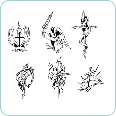 christian cross and wings: Christian Religion - illustration