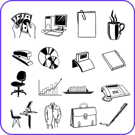 Items Office - business set  illustration  Stock Vector - 17458969