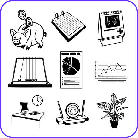 Items Office - business set  illustration Stock Illustration - 17458996