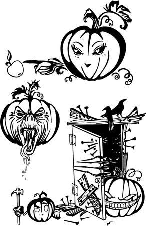 Happy Halloween - vector set. Vinyl-ready illustration. Stock Vector - 17684626