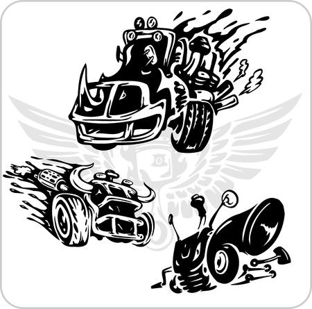 horsepower: Crazy Drivers - Vinyl-ready vector illustration. Illustration