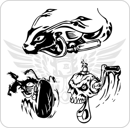 motorized sport: Crazy Drivers - Vinyl-ready vector illustration. Illustration