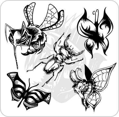 Vinyl-ready vector set. Predatory insects Illustration