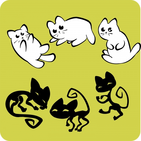 Black and White Cats - vinyl-ready vector illustration. Vector