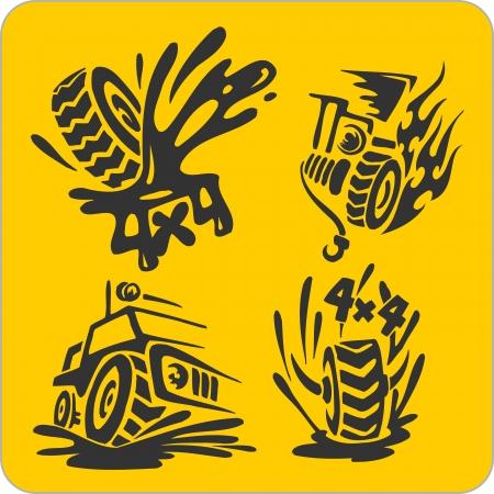 mode of transport: Off-ROff-Road symbols - vinyl-ready vector illustration