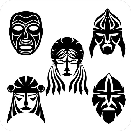 voodoo: Tribal masks. Vector vinyl-ready illustration.