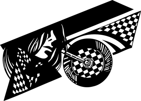 motorcycle racing: Checkered flag and bike. Vinyl-ready vector design.