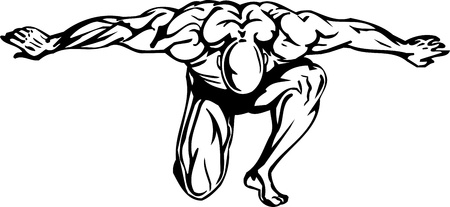 muscular men: Bodybuilding and Powerlifting - vector illustration.