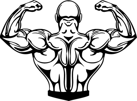 flex: Bodybuilding and Powerlifting - vector illustration.