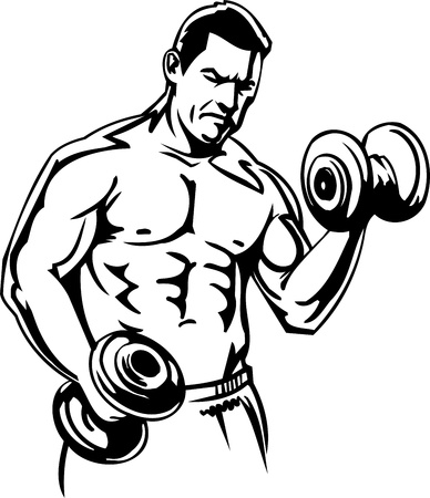 powerlifting: Bodybuilding and Powerlifting - vector illustration.
