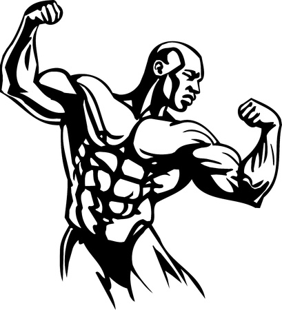 steroids: Bodybuilding and Powerlifting - vector illustration.