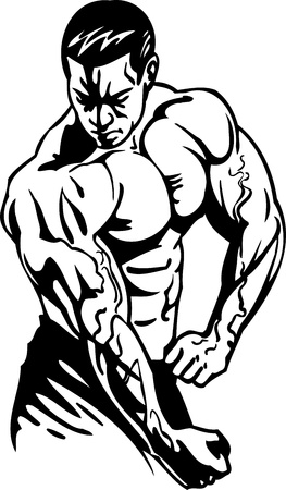 muscular male: Bodybuilding and Powerlifting - vector illustration.