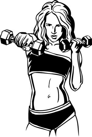 weights: Fitness Donna - illustrazione vettoriale. Vettoriali