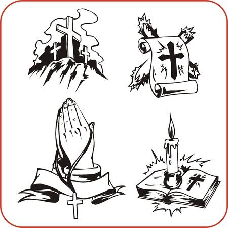 praying hands: Christian Religion - vector illustration. Illustration
