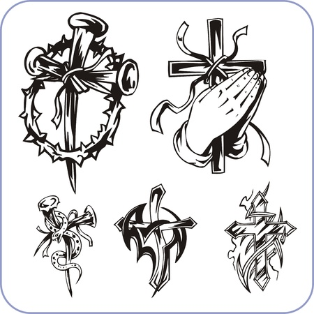 cross and wings: Christian Religion - vector illustration. Illustration