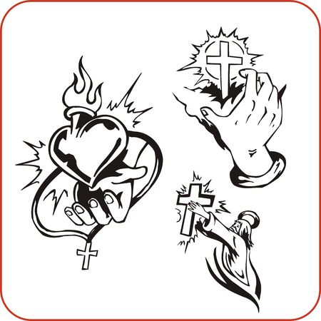 christian cross and wings: Christian Religion - vector illustration. Illustration