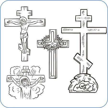 orthodox: Cross and crucifix - vector illustration.