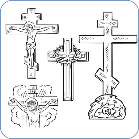 Cross and crucifix - vector illustration.