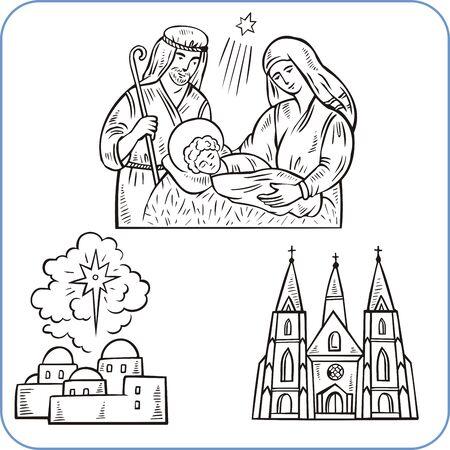 Biblical scene  - vector illustration. Vector