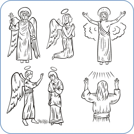 jesus praying: Angels and saints - vector illustration.